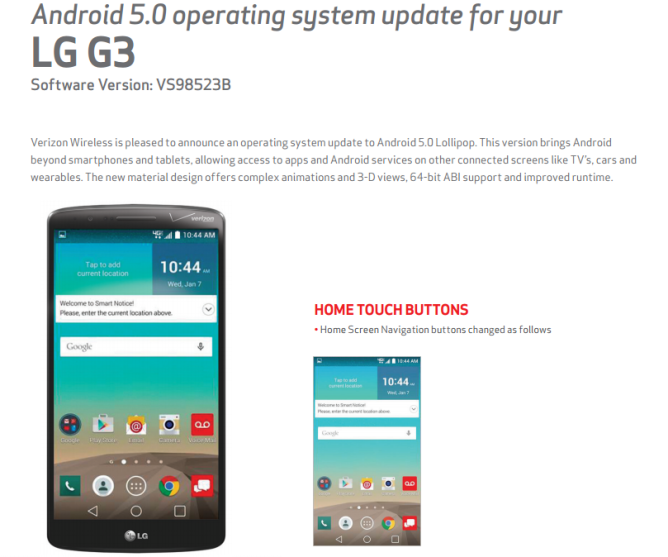 Verizon LG G3 Android 5.0 Lollipop update news