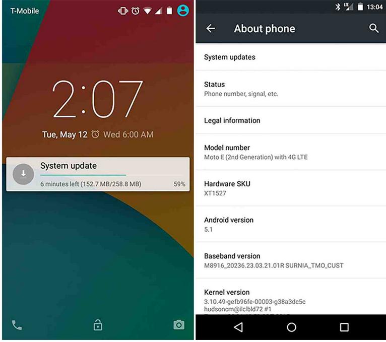 Moto E (2nd Gen) Androidi 5.1