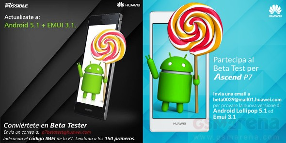 Huawei Ascend P7 Lollipop