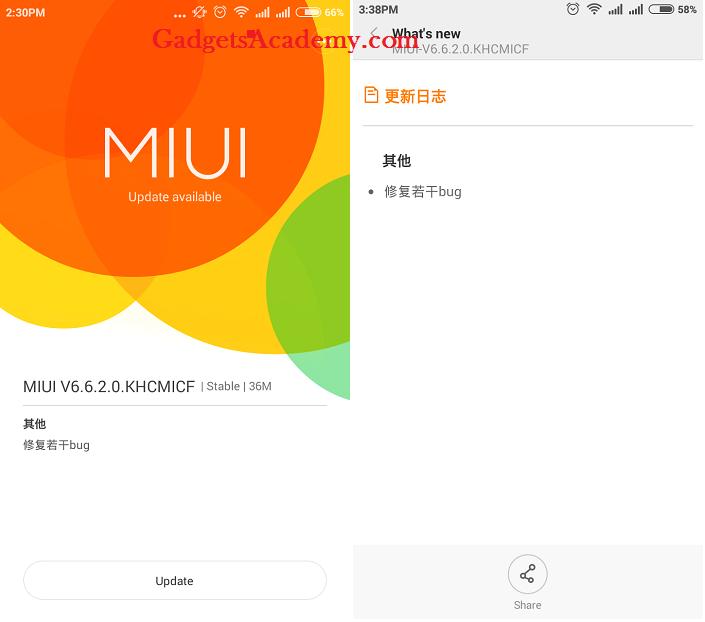 Redmi 1S MIUI 6.6.2.0 KCHMICF