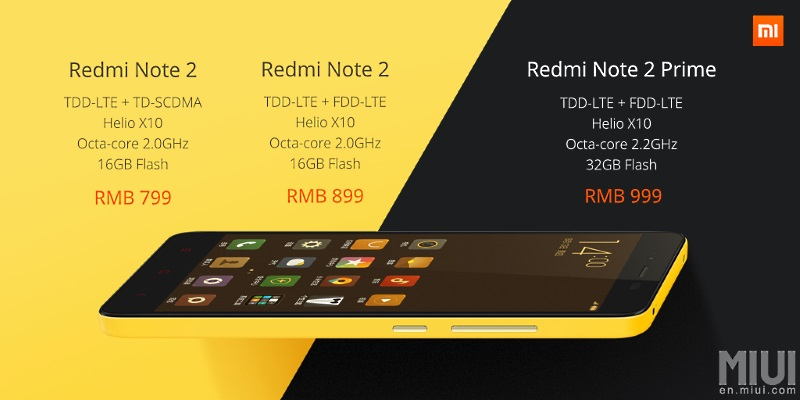 Xiaomi Redmi Note 2 variants